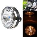 Chrome universal lámpara principal del faro de la motocicleta ámbar bobber luz delantera para honda honda cb400 cb500 cb1300 hornet 250 600 900
