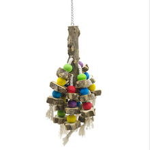 1 Pcs Parrot toy bird Wood color Hook hanging string bite climbing Bird cage accessories toys Supplies