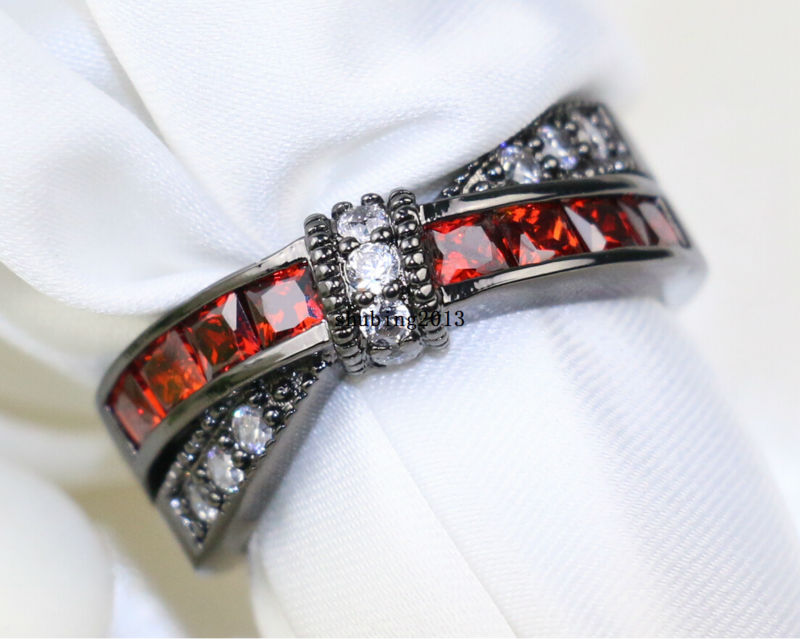 10kt black gold filled rhodium plated zircon garnet belt lady wedding band womens engagement ring sz5