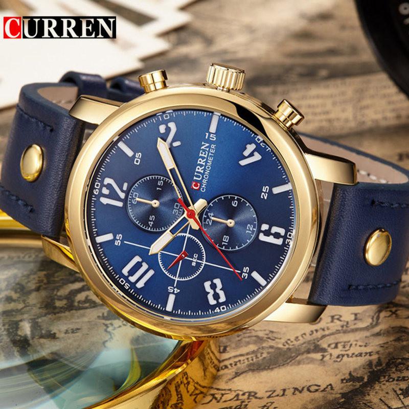 Prix pour CURREN 8192 Hommes Montres Top Marque De Luxe Bracelet En Cuir Montre À Quartz Hommes Casual Sport Montre-Bracelet Homme Horloge Relogio Masculino