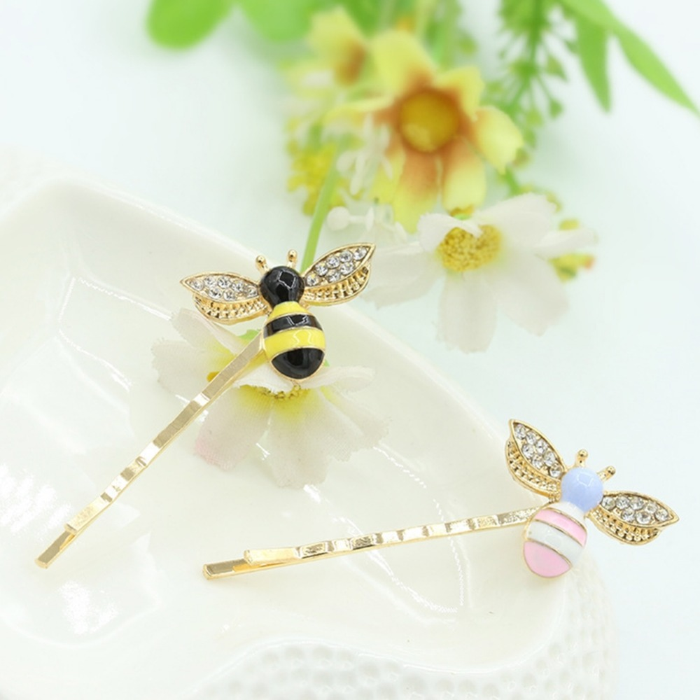 Lovely Women Girls Crystal And Resin Cartoon Bee Hairpin Elegant Twist Hair Clip Headdress Gifts Shopping Wedding