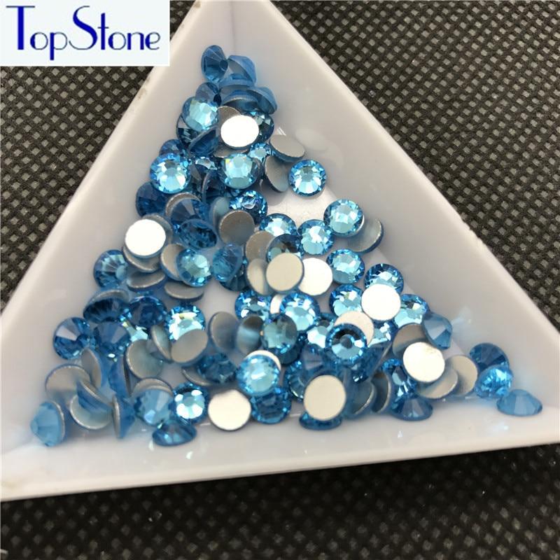 Topstone Aquamarine Non Hotfix Rhinestones Flatback Glass Crystals 3d Nail Art Decorations For DIY Beauty hats,clothing