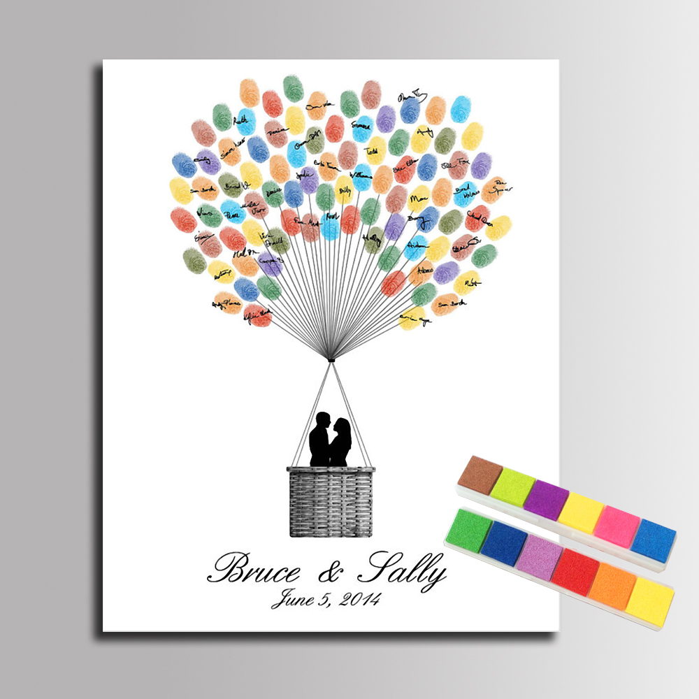 Fingerprint signature canvas painting lover in balloons for Balloon decoration book