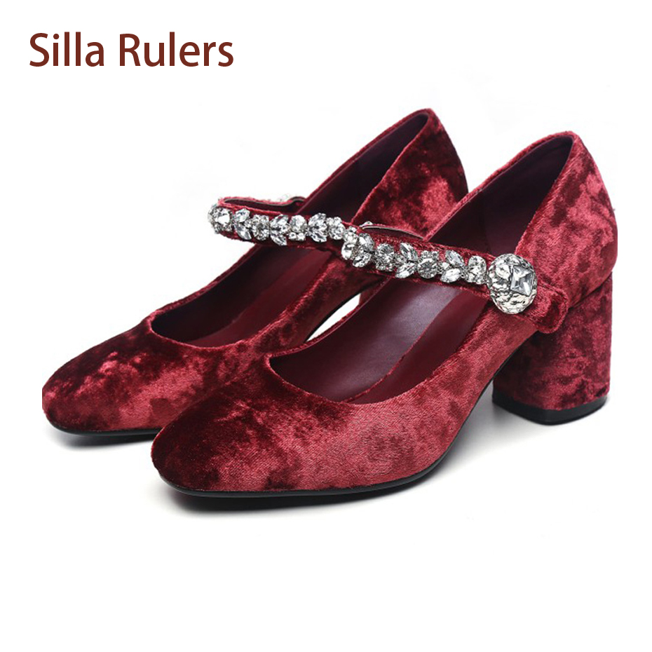 Silla Rulers New Crystal Women Pumps Velvet Buckle Rhineston Shallow Square High Heel Mary Janes Shoes Women Party Wedding Pumps