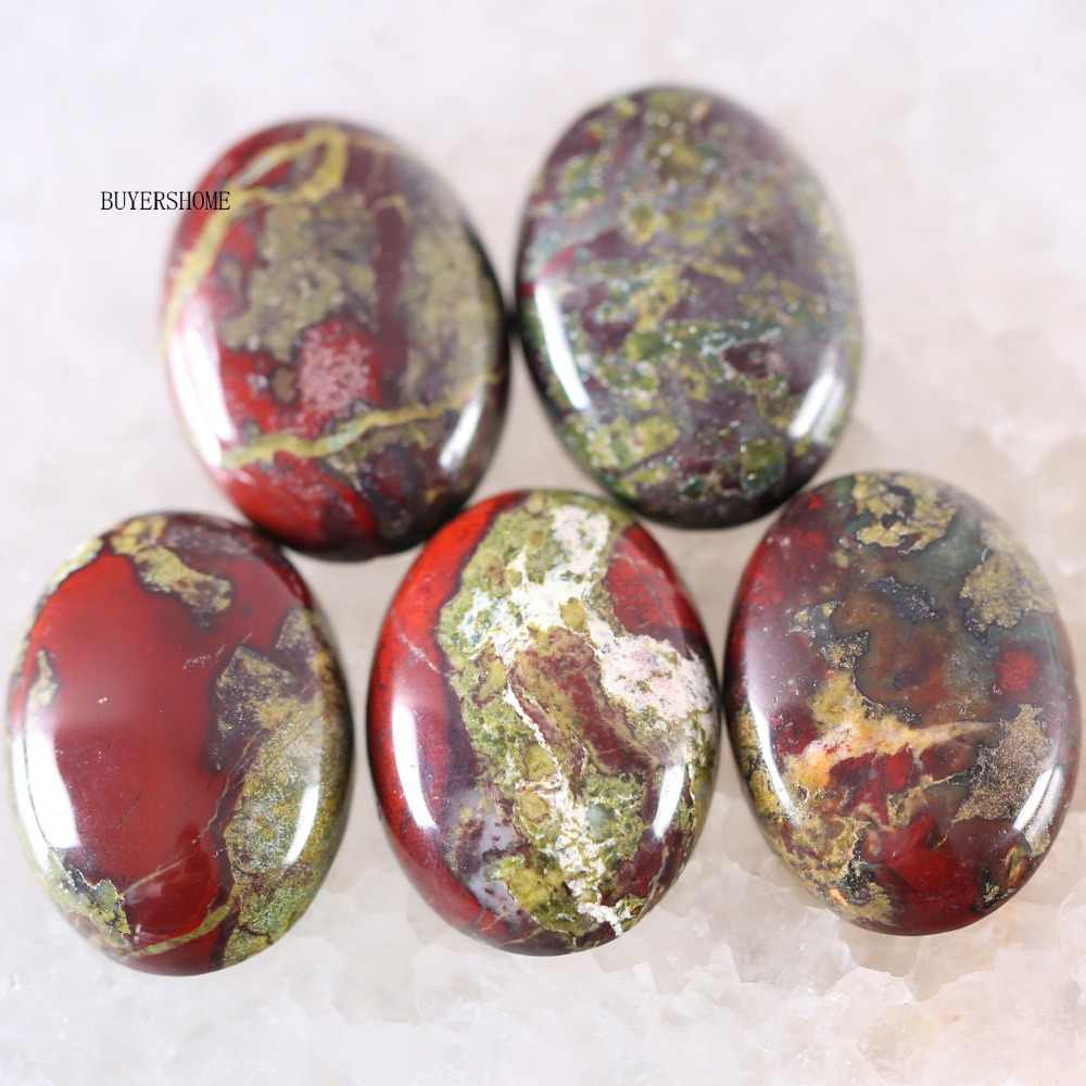 For Jewelry Making Necklace Pendant Bracelet Earrings 18x25MM Oval Natural Stone Bead Dragon Blood Stone CAB Cabochon 5Pcs K574