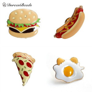 DoreenBeads 2016 Fashion Enamel Food Hamburger/ Pizza/ Hot dog/ Poached Egg Brooch Pins Jewelry Accessories 1 Piece