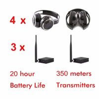 Professional Silent Disco Sound System Headphones and RF Wireless headsets 4 folding Headphones + 3 Transmitters