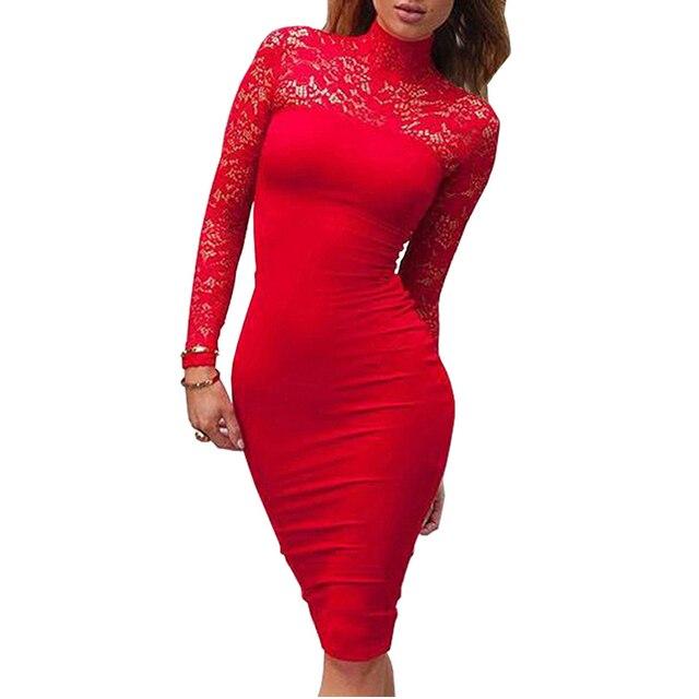 Водолазка С Длинным Рукавом Кружева Midi Сексуальная Клуб Бинты Bodycon Dress 2016 Осень Белый Красный Черный Женщин Эластичный Элегантный Партия Платья