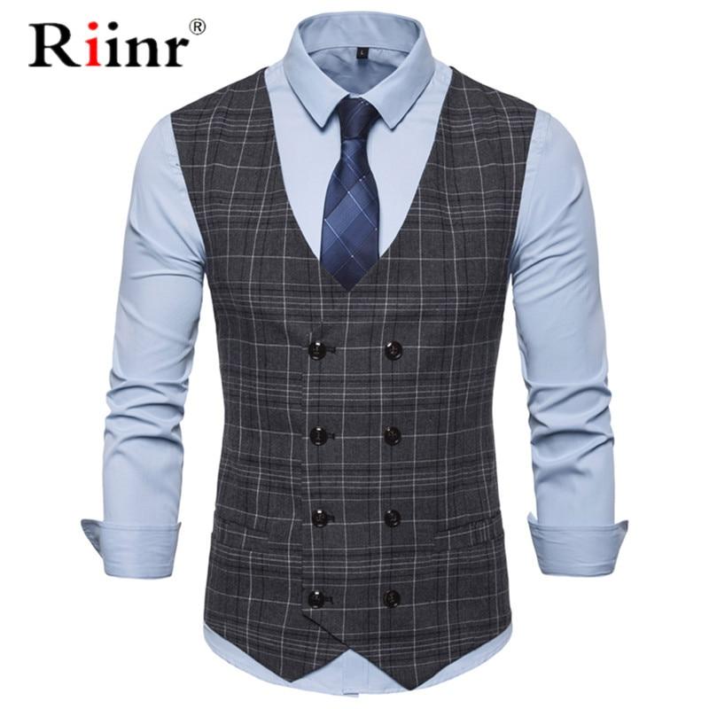 Male Plaid Slim Fit Dress Vests Men's Casual Sleeveless Formal Business Jacket Suit Vest Wedding Waistcoat Homme Plus Size 2019