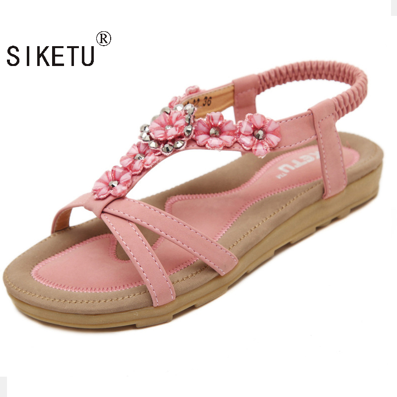 SIKETU Summer Women Sandals 2017 Gladiator Sandals Women Shoes Bohemia Flat Shoes Sandalias Mujer Ladies Shoes