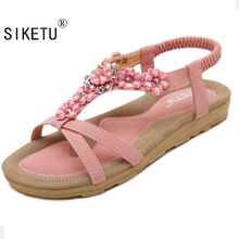 SIKETU Summer Women Sandals 2017 Gladiator Sandals Women Shoes Bohemia Flat Shoes Sandalias Mujer Ladies Shoes New Flip Flops