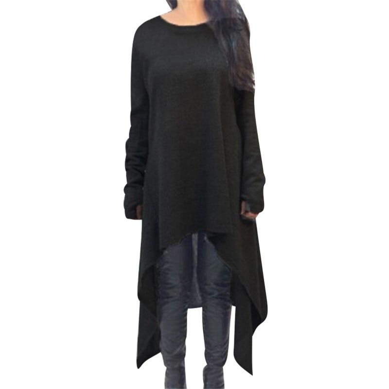 Фото Women Irregular Long Sleeve Dress Autumn Winter Dresses O-neck Knitted Dress Vestidos Plus Size 3XL Black Gray Party Dress