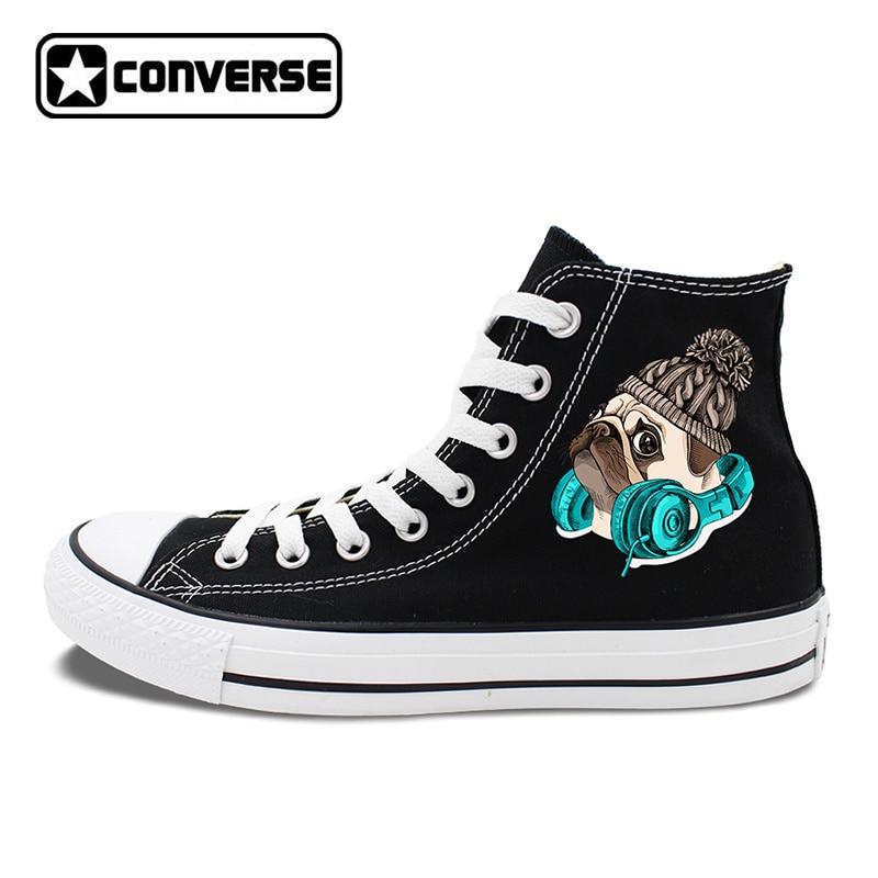 Original Design Adorable Pet Dog Pug Wool Cap Earphone Converse Canvas Shoes Men Women Christmas Gifts Sneakers Chucks