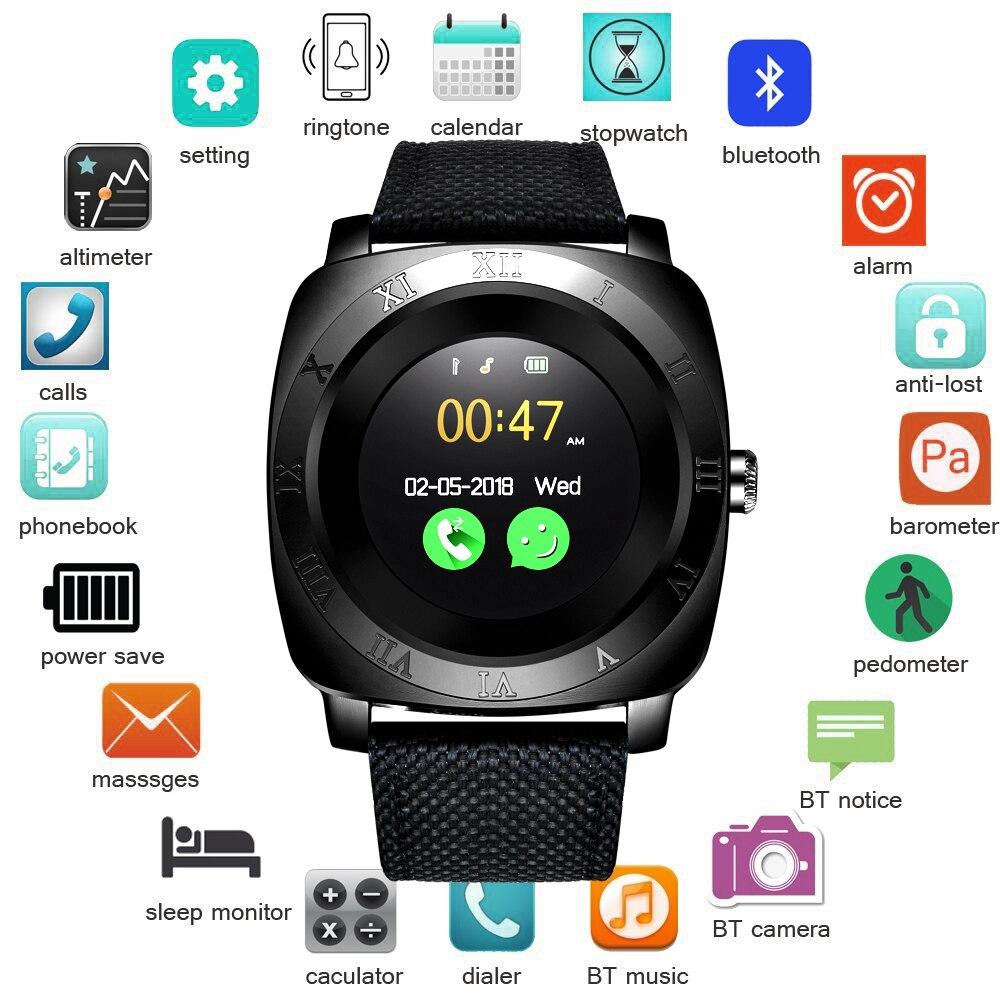 BNAGWEI Smart Orologio Pedometro Fitness Orologio Della Macchina Fotografica SIM Card del telefono Smartwatch Lettore Mp3 uomo per IOS Android Watchphone PK DZ09