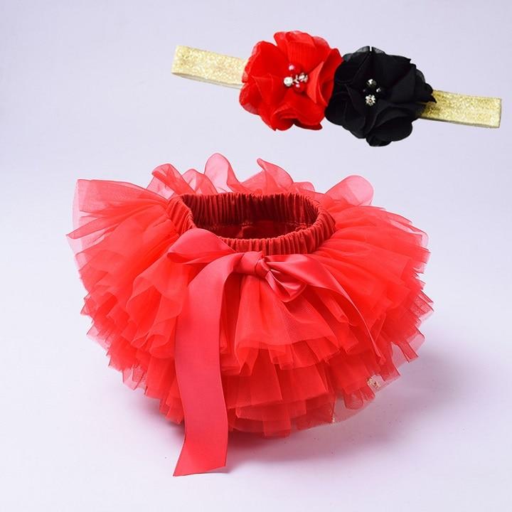 Юбка-пачка для маленьких девочек, комплект из 2 предметов, кружевные трусы из тюля, Одежда для новорожденных, Одежда для младенцев Mauv, повязка на голову с цветочным принтом, Детские сетчатые трусики - Цвет: red