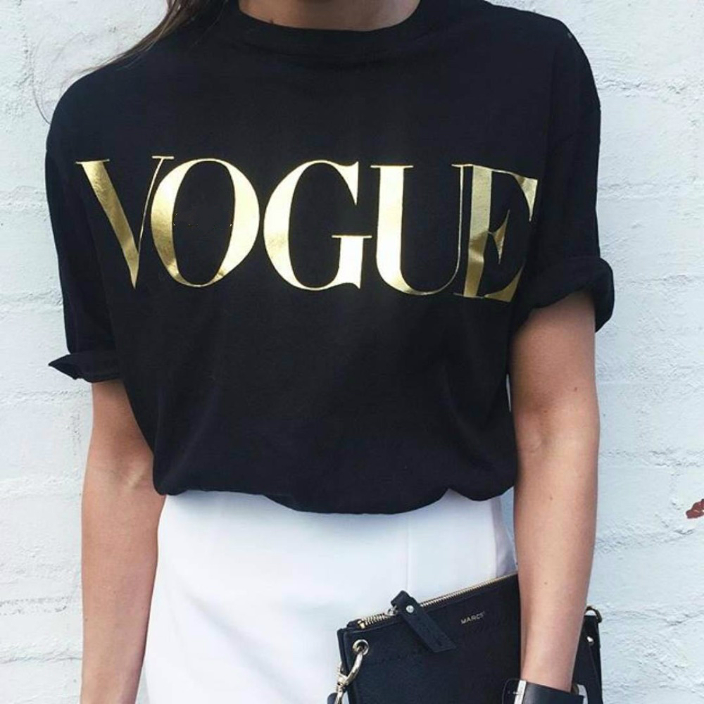 Golden Vouge Letter Print   T     Shirt   Women Short Sleeve O Neck Loose Tshirt 2019 Summer Women Tee   Shirt   Tops Camisetas Mujer