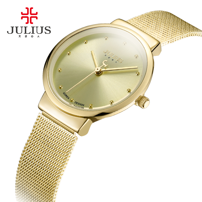 JULIUS JA-426L Kvinnors Ultra Thin Silver Guld Brun Svart Mask Stainless Steel Fashion Casual Watch Kvinna Vattentät Armbandsur