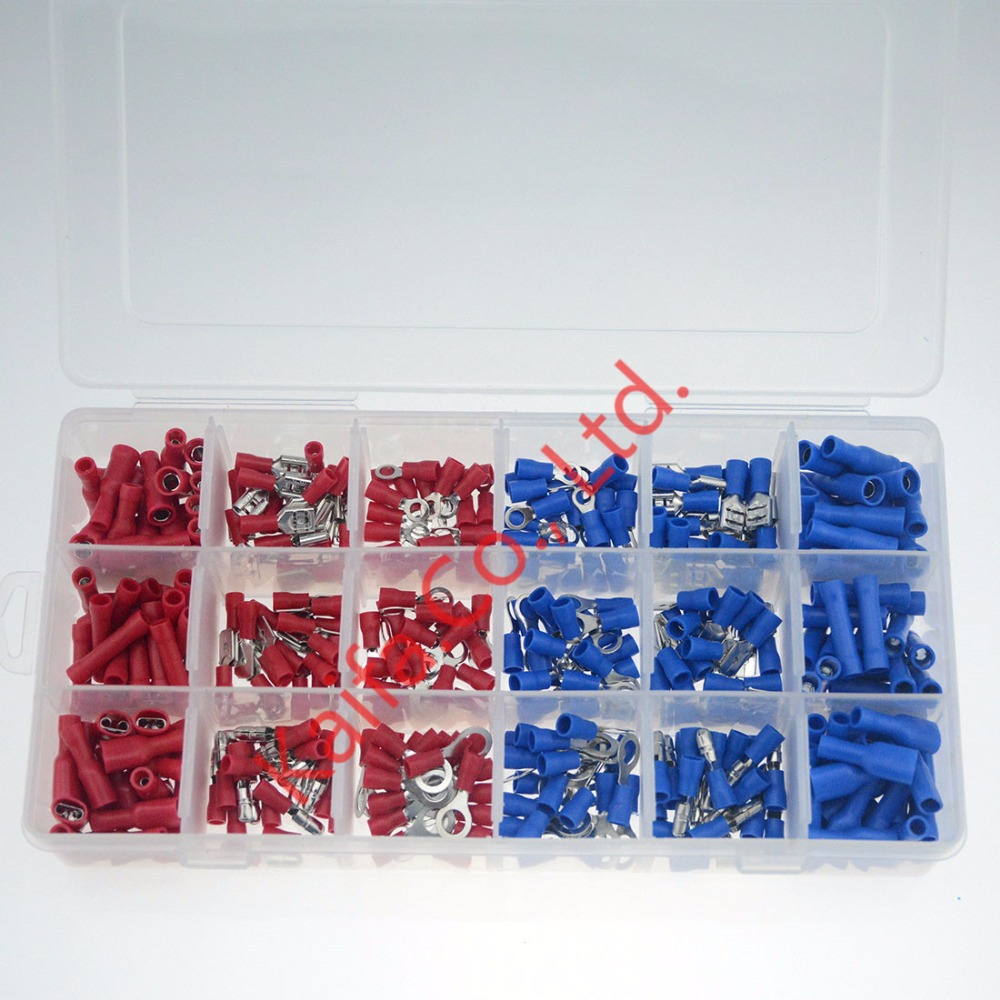 360Pcs/ Box Insulated Terminals Electrical Crimp Connector Tube Wire Connector Assortment Kit Cold Pressing Copper Terminals 200 pcs awg16 14 wire connector tube head uninsulated pin terminals silver tone