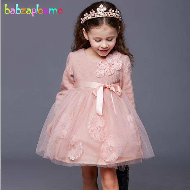 3-7Years/Autumn Winter Baby Girl Clothes Infant Party Princess Tutu Dress Cute Long Sleeve Kids Dresses Children Clothing BC1307 mihkalev striped long sleeve girl dress kids clothes 2017 autumn princess dres for girls party clothing children tutu dress
