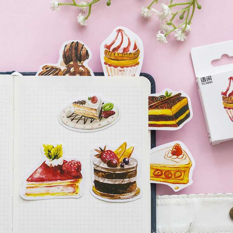50Pcs/box Dessert Cake Papers Stickers Flakes Vintage Romantic Love For Diary Decoration Diy Scrapbooking Journal Sticker