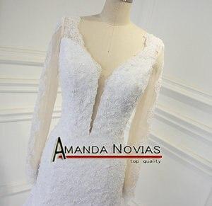 Image 4 - Sexy backless real foto trouwjurk amanda novias robe de mariee