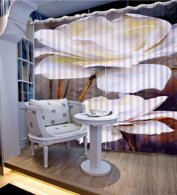 europen luxe gordijnen voor woonkamer slaapkamer 3d foto gordijn stereoscopische witte bloem raamdecoratie gordijnen