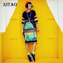 [XITAO] 2017 summer Europe fashion street wind female loose short sleeve print o-neck pullover knee-length oversize dress KLN005