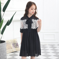 European & American 2019 Teen Girls Summer Chiffon Dress Black Lace Dresses Loose Girl Princess Vestido Age 68 10 12 14 16 Kids