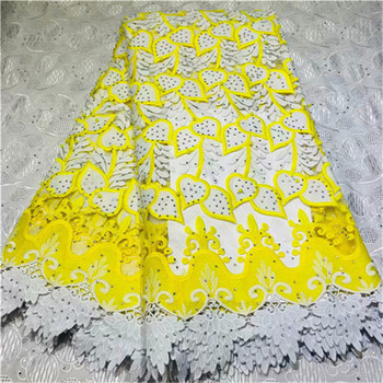 High Quality African Swiss Voile Lace In Switzerland For Party With Stones 5Yards yellow beads New Design African Laces Fabric