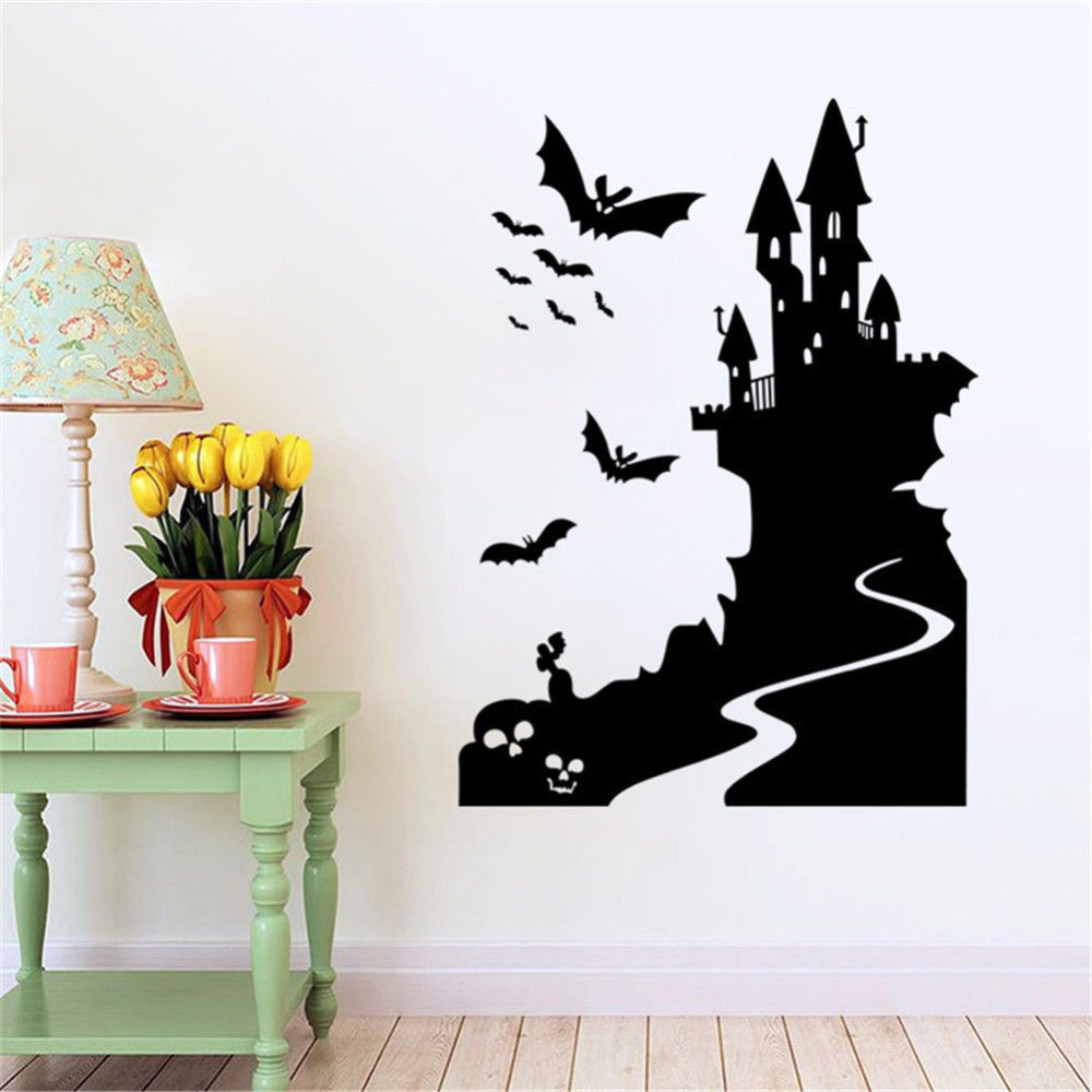 Bat Castle Vinyl Wall Decals Halloween Window Decoration Removable ...