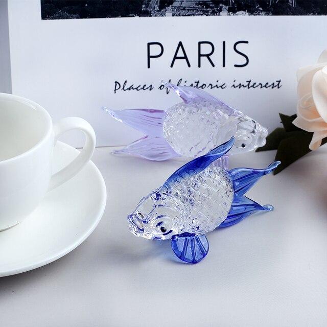 Handmade Crystal Goldfish Figurine Model Miniature Animal Crystal Crystal Glass Ornament Home Decor Gift Kids Room Decoration 4