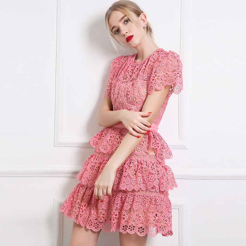 Top quality Runway Dress 2018 cute Women pink Lace dress cutout Short Sleeve Sunflower Cake Party