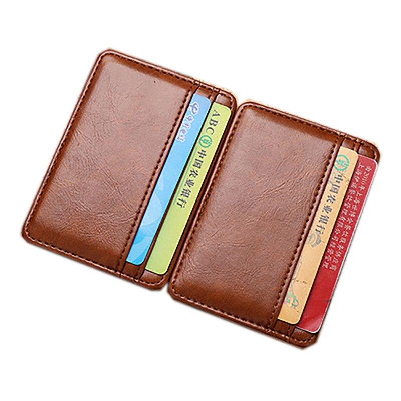 Men s Fashion Magic Faux Leather Slim Wallet Money Clip Purse