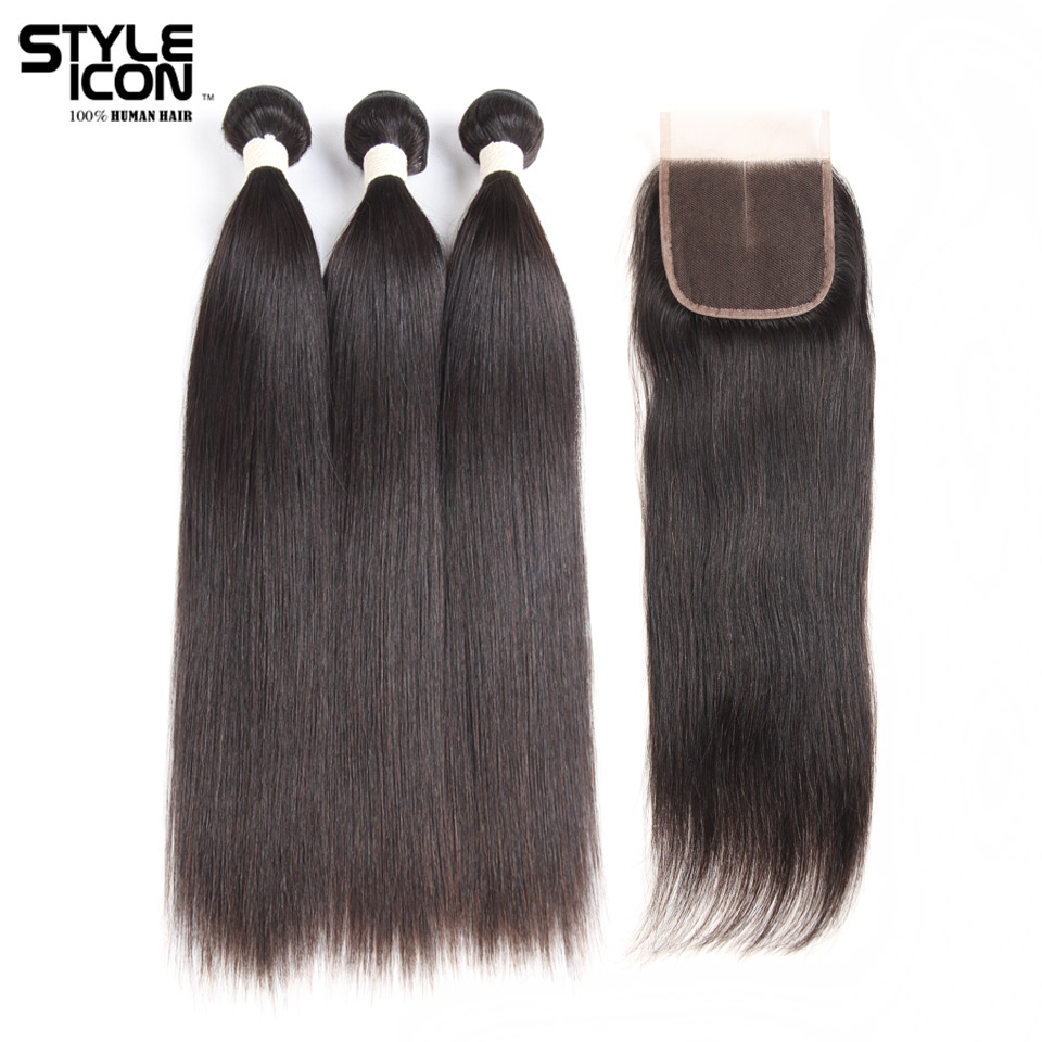Styleicon Pre-colored Peruvian Hair Bundles With Closure Remy Straight Hair Weave Bundles Extensions 3 Bundles With Closure