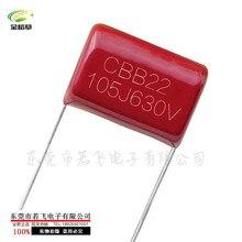 200 pièces/lot CBB condensateur 630V105 P = 20mm CBB22 105J 630V 1UF