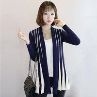 BONJEAN 2017 Spring Women Cardigan Stripes Print Long Sleeve Women S Shawl Knitting Slim Thin Sweater