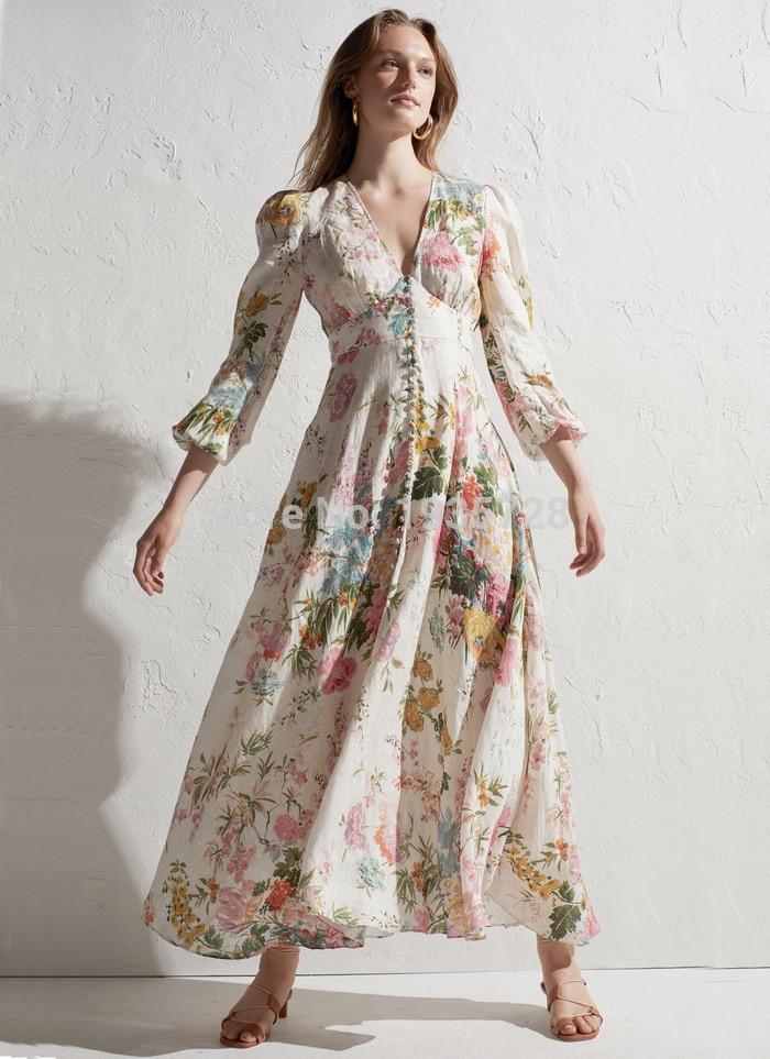 Kleid ausschnitt Bus Mit Vordere Print Plunge Lange Versammelt As leinen Kleid v Unter Taste High Heathers end Maxi Pic Floral Garten Krawatte amp; R6wzqz