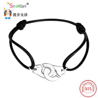 Strollgirl New Fance Paris 925 Sterling Silver Handcuffs Bracelet With Rope Adjustable Pendant Menottes Jewelry For