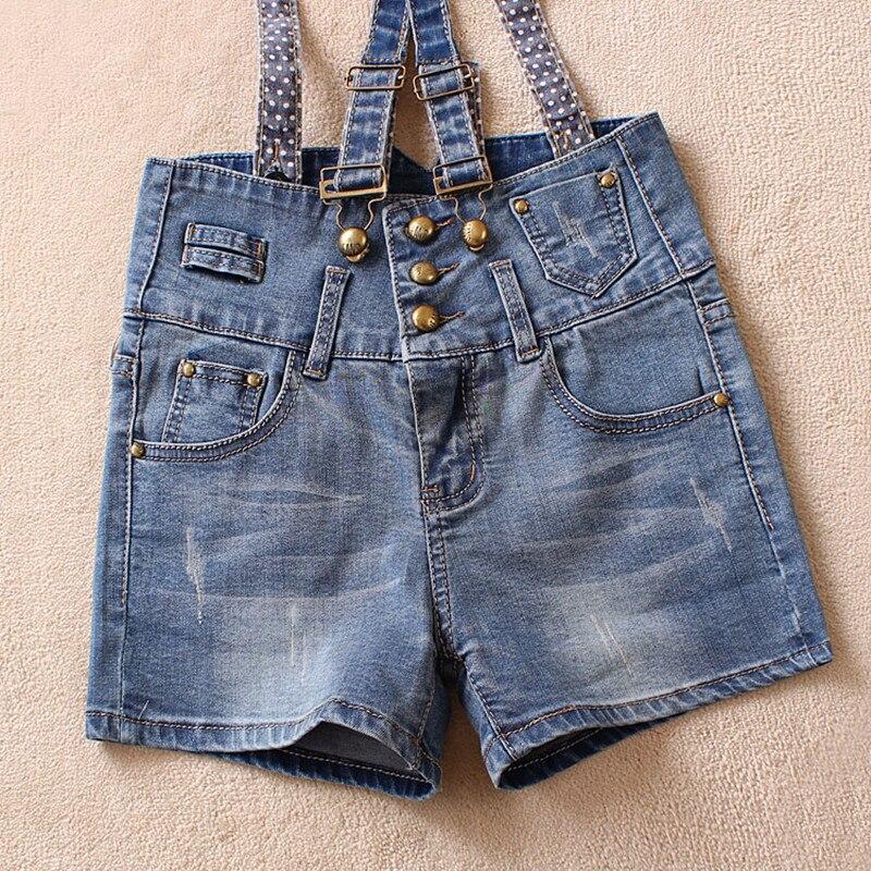 ФОТО Free Shipping 2017 Fashion Denim Suspenders Shorts Plus Size High Waist Shorts Jeans Jumpsuits For Women Summer Zipper Shorts