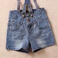 Free Shipping 2017 Fashion Denim Suspenders Shorts Plus Size High Waist Shorts Jeans Jumpsuits For Women Summer Zipper Shorts