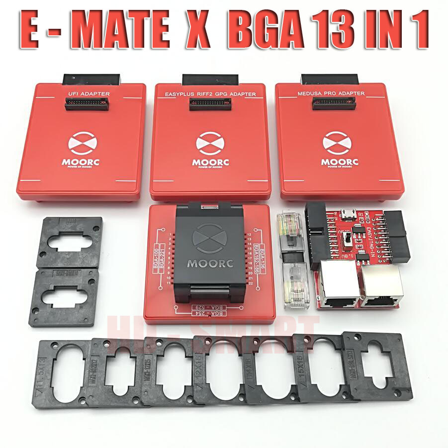 Image 3 - New MOORC  E MATE  X   E MATE PRO BOX EMATE EMMC BGA 13in 1 SUPPORT  100 136 168 153 169 162 186 221 529 254 easy jtag plus-in Communications Parts from Cellphones & Telecommunications