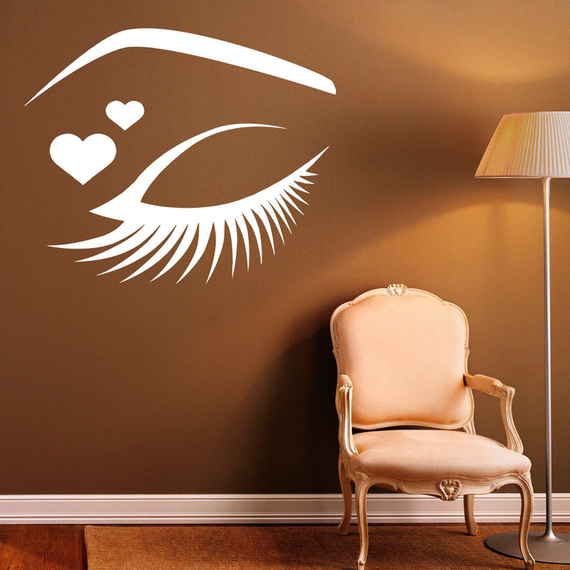 Beautiful Girl'S Eye Outline Wall Stickers Beauty Salon Wall Art Decals Vinyl Removable Eyelashes Makeup Sticker Home Decor