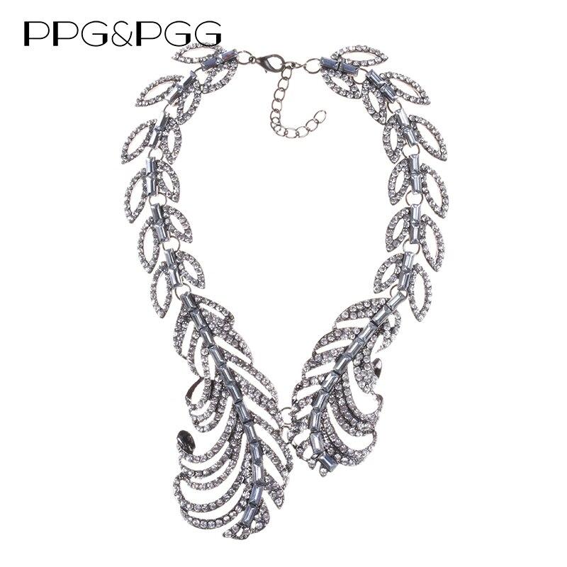 7d865d0dc8e0 PPG   PGG 2018 nueva lujo Maxi mujeres Bijoux joyería completa Crystal  hojas declaración aleación collares babero gargantilla Collar colgantes