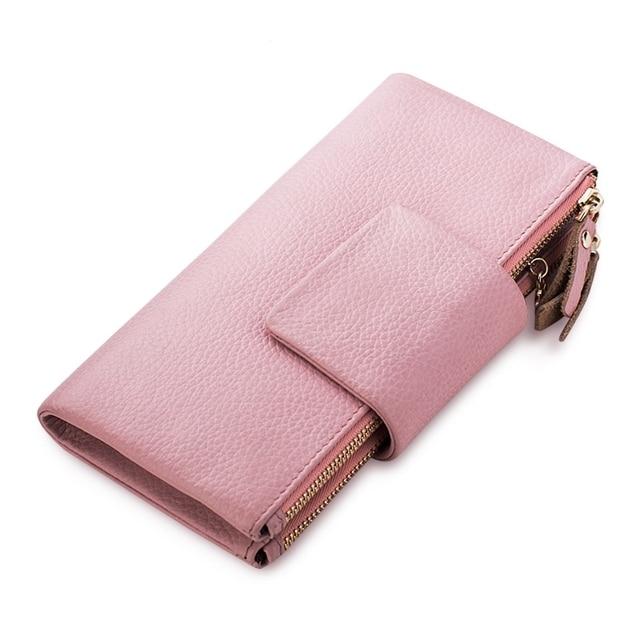 2017 новое прибытие мода женщины кошельки марка длинный кошелек твердые натуральная кожа сплошной цвет двойной молнии высокого качества