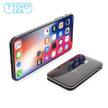Travelcool 8000mAh Portable Power Wireless Power Bank Mirror Design Wireless Charging Qi Powerbank Built-in Cable Mobile Phone