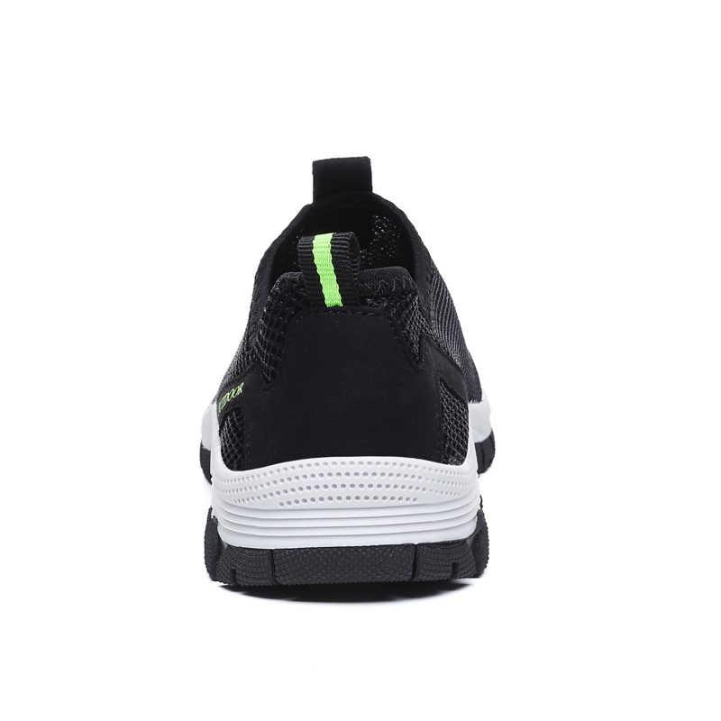 ZUNYU/Новинка 2019 года; мужская летняя удобная повседневная обувь; дышащие кроссовки из сетчатого материала на плоской подошве без застежки; кроссовки; водонепроницаемые лоферы; размеры 39-49
