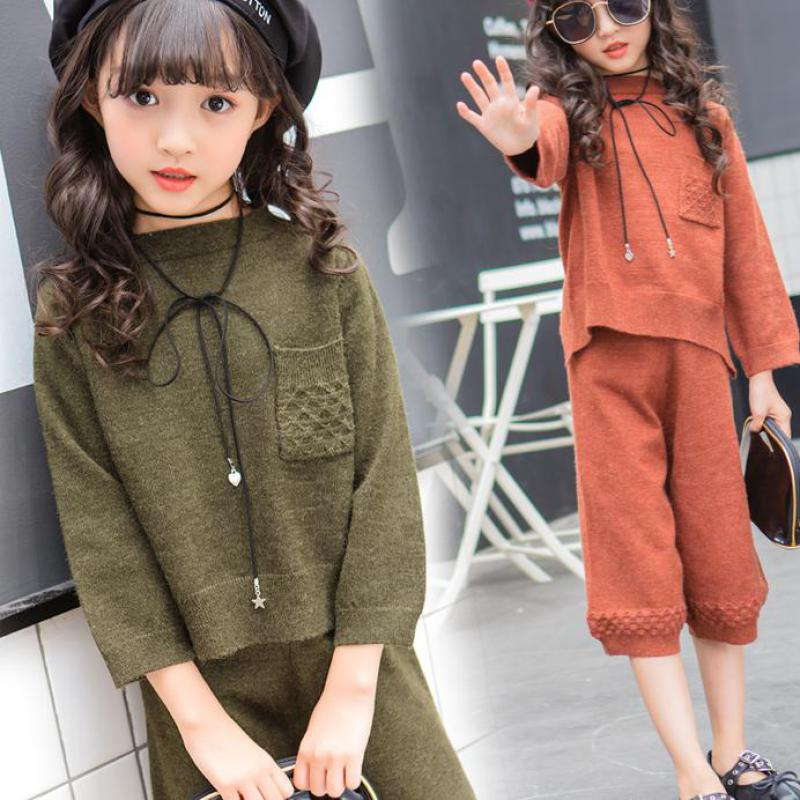 2017 Girls Christmas Clothes Sets Knitted Sweater + Knitted Pants Autumn Children Clothing Kids Outfits Girls Clothing Sets Sale school girls brand cardigan clothes sets knitted sweater wave skirt 2pcs winter autumn warm children clothing kids outfits w75