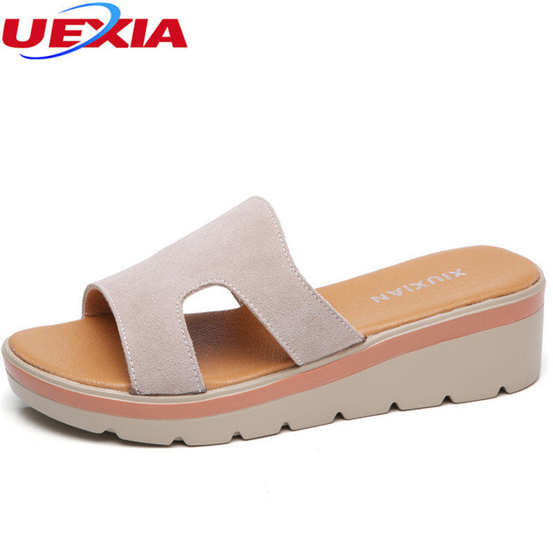 UEXIA 2018 New Summer Slippers Women Flat platform Sandals Shoes Beach Shoes Slip-on Round toe Leather suede Slides Flip flops 2016 summer patent leather buckle slides for women fashion stone upper flat platform ladies casual beach slippers sandals shoes