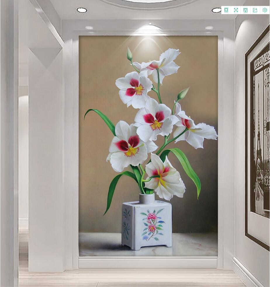 Customize Any Size 3D Photo Flower Wallpaper Murals Watercolor flowers 3d Stereoscopic Wall paper Home Decor Kitchen Living Room blue earth cosmic sky zenith living room ceiling murals 3d wallpaper the living room bedroom study paper 3d wallpaper