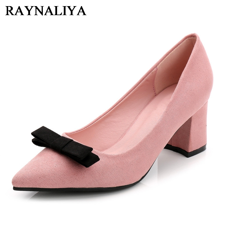 New Women Pink Office Career Shoes 6cm High Heel Pumps Comfortable Square Heel Round Toe Shoes Big Size 33-40 WZ-A0029 my brilliant career